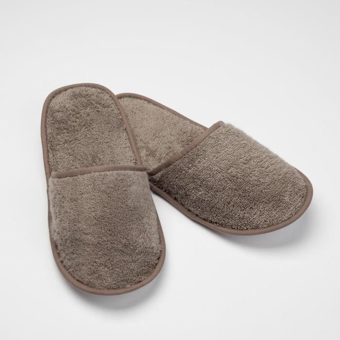 LINANDELLE - Chausson de bain en coton éponge imperméable mixte SPA - Taupe - Adulte Homme
