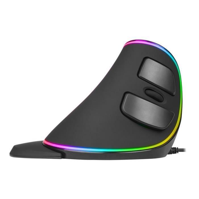 Delux M618 Plus RGB Souris Verticale IntelliSense Breathing Light Ordinateur Filaire Souris Ergonomique USB 4000 DPI Souris, Noir