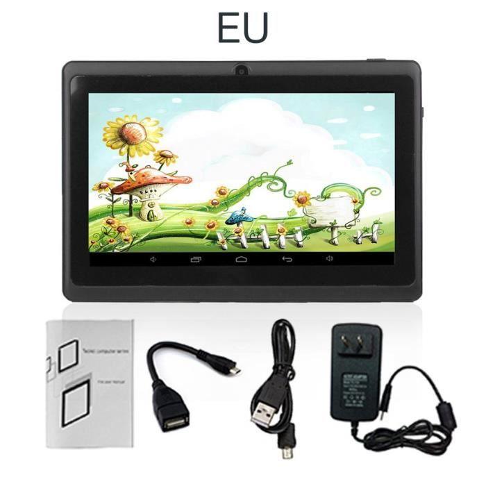 Tablette PC Quad-core 7 pouces 1 Go + 8 Go Android Support TF Card Noir