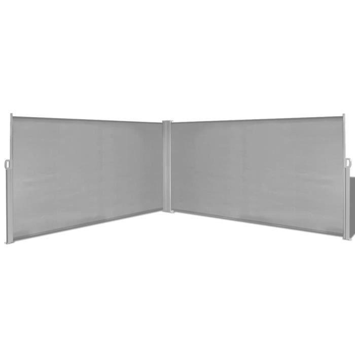 Auvent Parasols Voiles d'ombrage latéral rétractable gris de 160x600 cm