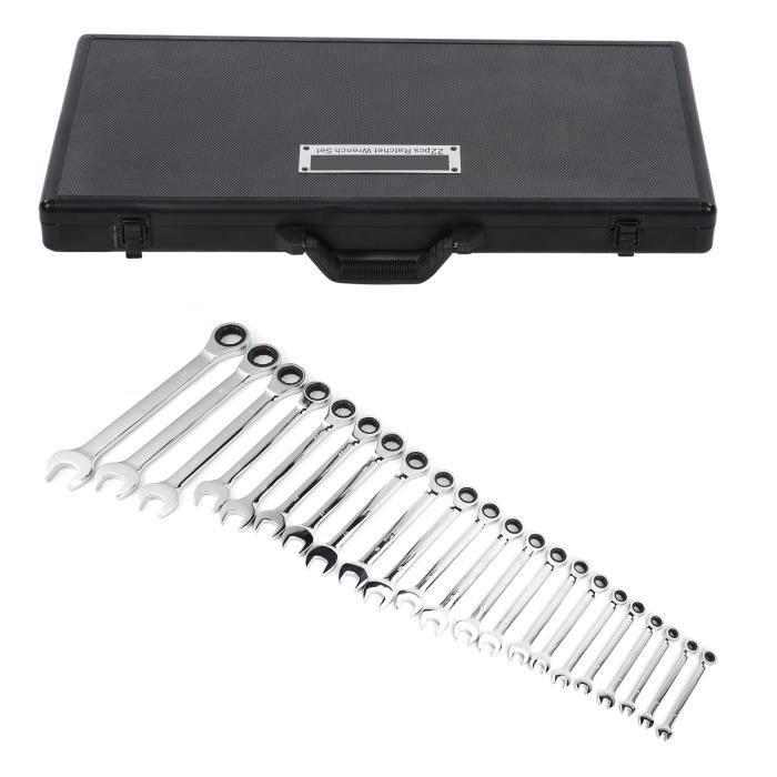 Ensemble de clés à cliquet 22 pièces outils à main à clé fixe avec boîte de rangement en aluminium 6‑32 mm
