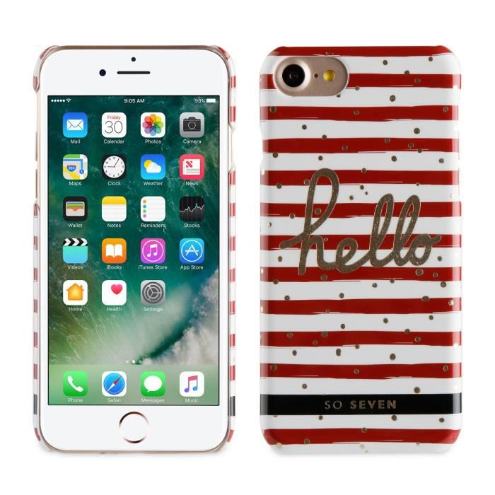 SO SEVEN Bundle BORD DE MER Coque+STYLO+CARNET-Rouge APPLE IPHONE 7