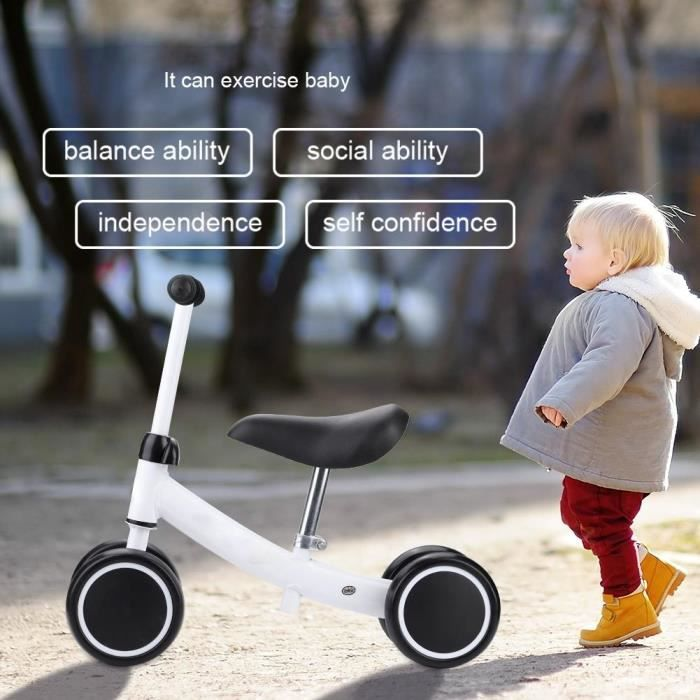 Tbest Trottinette D'équilibre Pour Bébé Balance Training Mini Bike Scooter Walker Trottinettes pour bébé de 1 à 2 ans (Blanc)