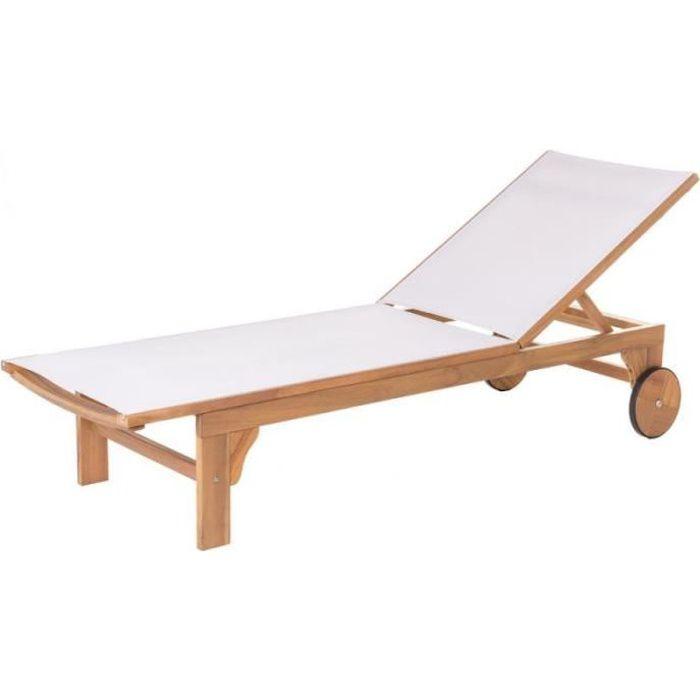 Bain de soleil Bois d'acacia/Textilène Blanc - OLUVELI - L 200 x l 65 x H 36