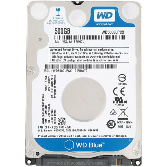 Digital WD Blue 500G 7mm Laptop dur interne pour ordinateur portable dur 5400 tr-min SATA 6Gb-s 16Mo Cache 2,5 WD5000LPCX