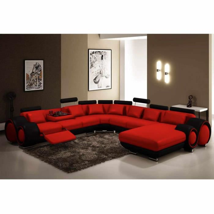 canap panoramique cuir rouge et noir oslo angle achat vente canap sofa divan cuir. Black Bedroom Furniture Sets. Home Design Ideas