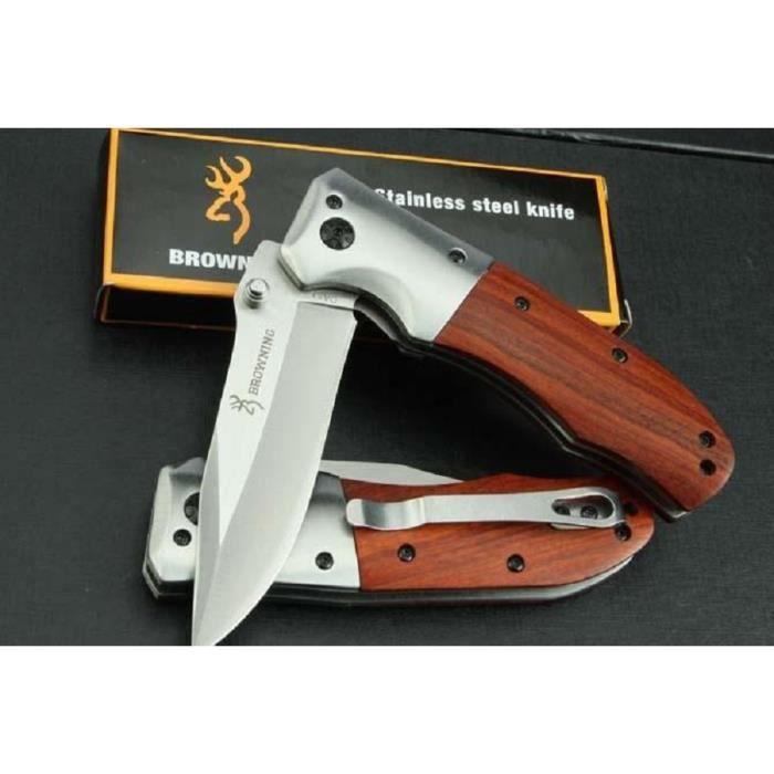 """PC-052 Couteau Compact /""""BUCK/"""" Lame Acier 6 cm Manche Acier 9 cm Oudoor Collectio"""