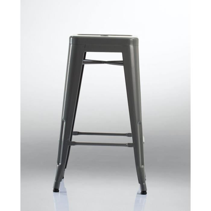 tabouret de bar style factory en fer gris industry achat vente tabouret de bar fer cdiscount. Black Bedroom Furniture Sets. Home Design Ideas