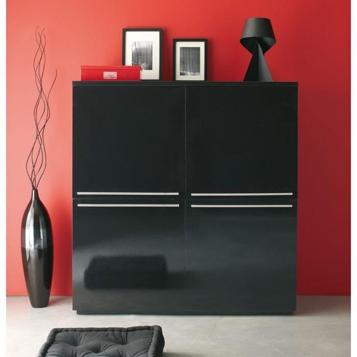 black buffet haut 4 portes laqu noir achat vente. Black Bedroom Furniture Sets. Home Design Ideas