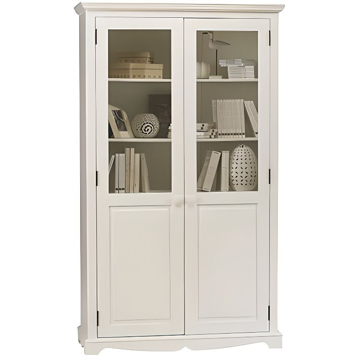 biblioth que blanche 2 portes de style anglais achat. Black Bedroom Furniture Sets. Home Design Ideas