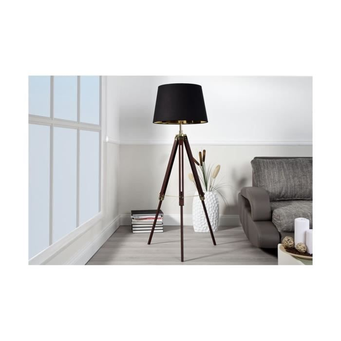 lampe r glable tr pied noir bois achat vente lampe. Black Bedroom Furniture Sets. Home Design Ideas