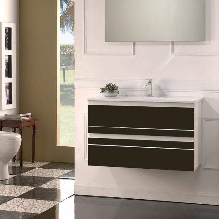 Meuble de salle de bain simple vasque 80 cm - Ritz, Chocolat ...
