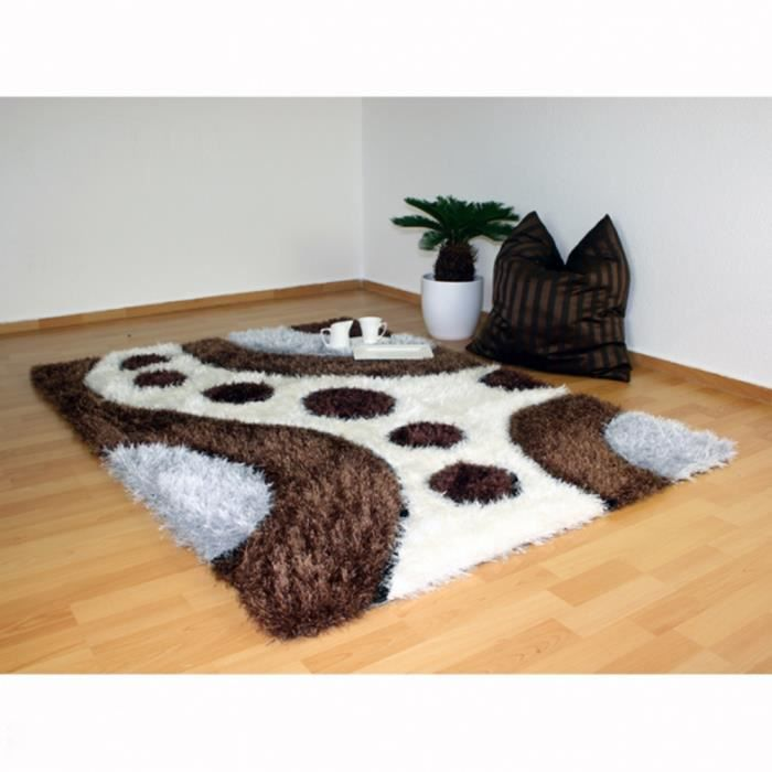 tapis shaggy brun blanc gris 120 x 170 cm achat vente tapis soldes d t cdiscount. Black Bedroom Furniture Sets. Home Design Ideas