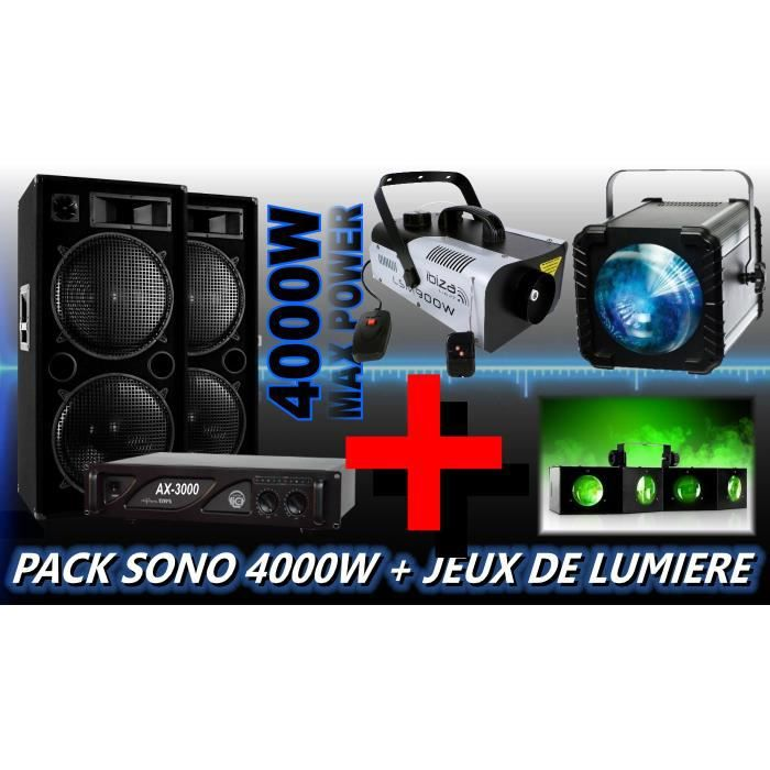 pack sono 4000w avec jeux de lumiere dj machine a fumee. Black Bedroom Furniture Sets. Home Design Ideas