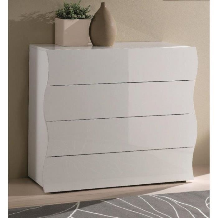 commode onda 4 tiroirs blanc brillant achat vente commode de chambre commode onda 4 tiroirs. Black Bedroom Furniture Sets. Home Design Ideas