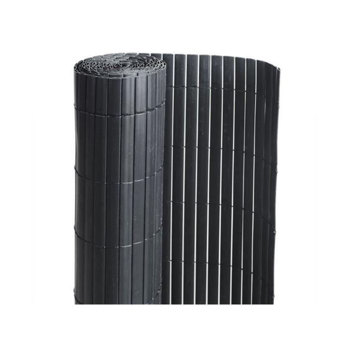 CLÔTURE - GRILLAGE Canisse PVC double face Noir 6 m - 2 rouleaux de 3