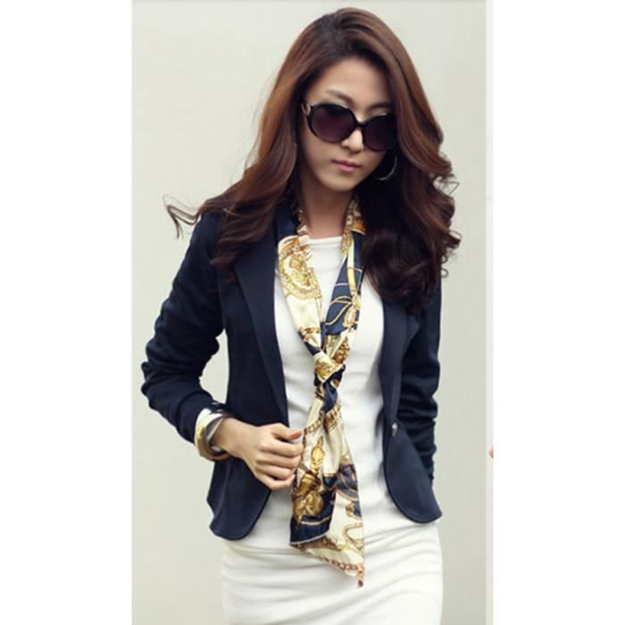 veste femme mince court blazer bleu bleu achat vente veste cdiscount. Black Bedroom Furniture Sets. Home Design Ideas