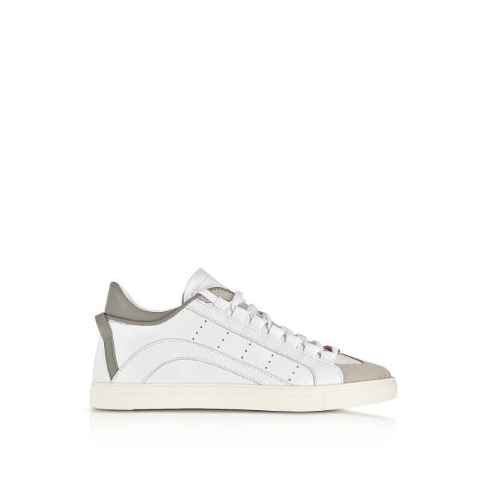 DSQUARED2 HOMME SNM0006065000011062 BLANC CUIR BASKETS