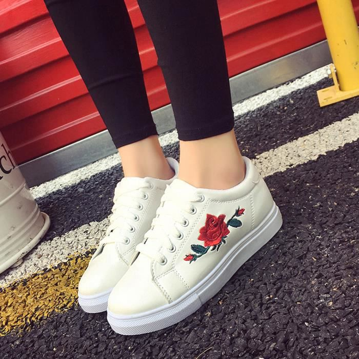 Femme Fleur Toile Casual Flats Chaussures Respirant Lacets Baskets Baskets NEUF