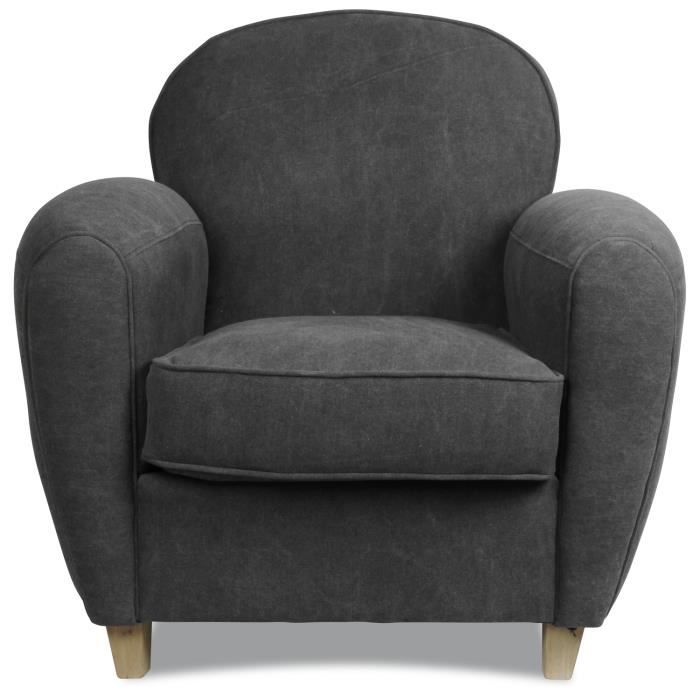 fauteuil club en toile lav e gris anthracite achat vente fauteuil cdiscount. Black Bedroom Furniture Sets. Home Design Ideas