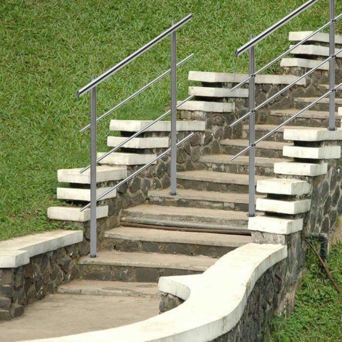 Rampe escalier Acier inoxydable 2 Tiges 160cm Rambarde Main Courante Balustrade