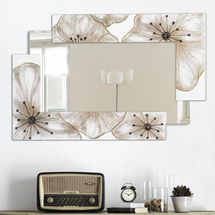 miroir d coratif mural design italien fleurs petunia pintdecor d cor la main 2 achat. Black Bedroom Furniture Sets. Home Design Ideas