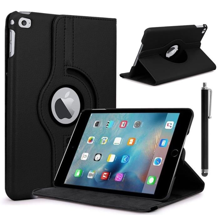 apple ipad mini 4 etui housse coque pochette rotatif rotative rotation 360 noir achat. Black Bedroom Furniture Sets. Home Design Ideas
