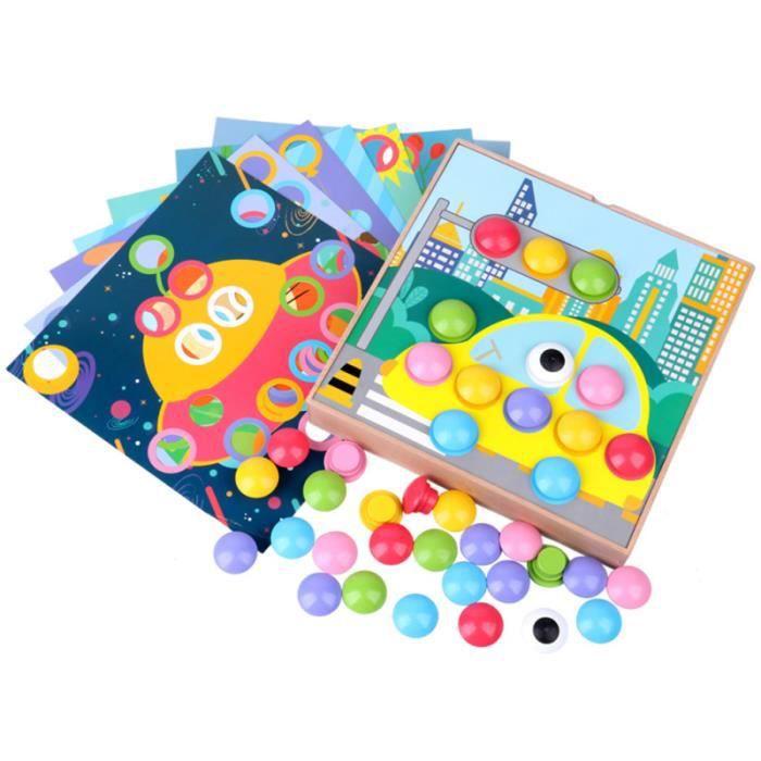 1 Set Enfants Champignon Nail Puzzle Jouet En Bois Enfants Jigsaw Puzzle Jouet