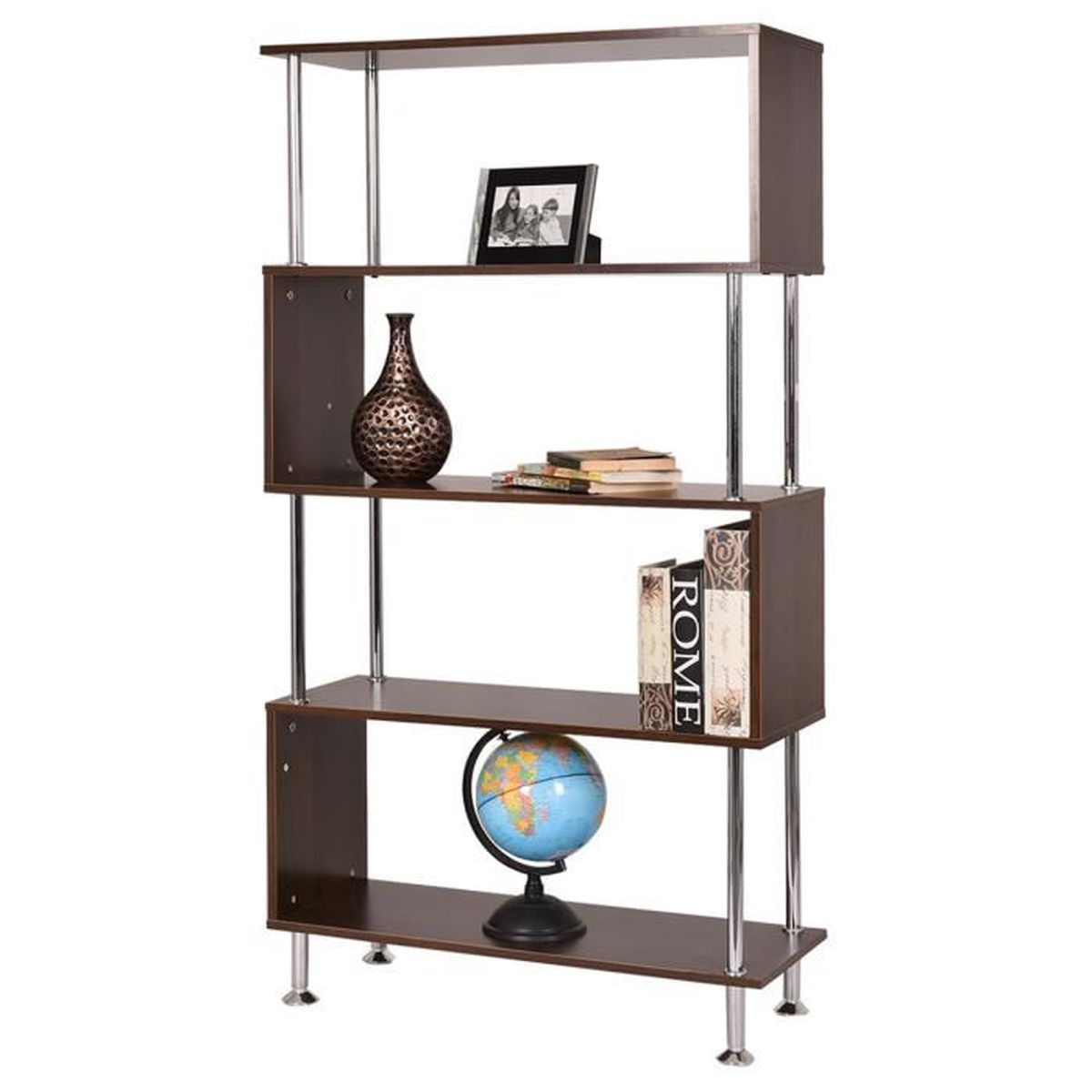 biblioth que tag re livres panneaux m lamin cd dvd 5 compartiments armoire achat vente. Black Bedroom Furniture Sets. Home Design Ideas