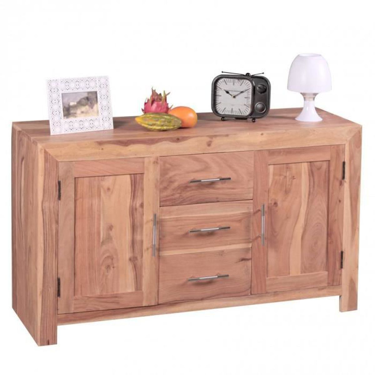 buffet en bois massif acacia poitrine 118cm avec 3 tiroirs 2 portes concevez style campagnard. Black Bedroom Furniture Sets. Home Design Ideas