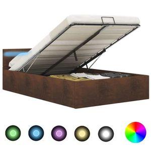 STRUCTURE DE LIT Cadre de lit à rangement avec LED Marron Tissu 140