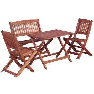 Ensemble table et chaise de jardin Salon de jardin 4 pcs pour enfants Eucalyptus