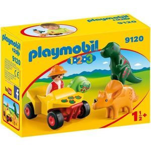 UNIVERS MINIATURE PLAYMOBIL 1.2.3 - 9120 - Explorateur et Dinosaures