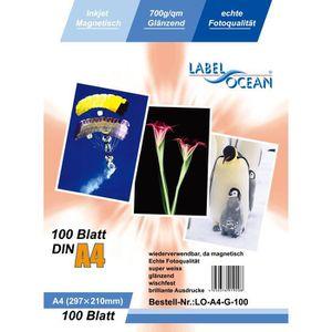 PAPIER PHOTO 100 Feuilles Papier Photo Magnétique A4 Brillante
