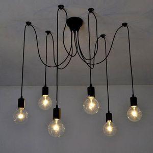 Support de lampe plafonnier E27 Suspension luminaire plafond en m/étal avec fil textile rouge 90 cm et socle lampe kwmobile Douille de lampe E27