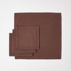 SERVIETTE DE TABLE Lot de 4 serviettes de table 100% coton  Chocolat