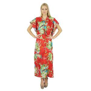 ROBE Bimba Femmes Long Coton Kaftan Rouge Floral Nuit W