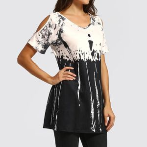 T-SHIRT amour@ femme Casual Tie Dyed Imprimer manches cour
