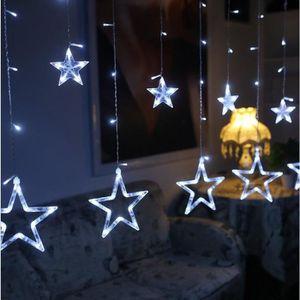 BANDEROLE - BANNIÈRE STOEX® Rideau Lumineux Noël 12PCS Étoiles LED Blan