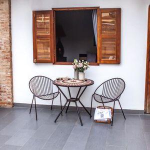 TABLE DE JARDIN  Meuble de jardin - Table de jardin acier et mosaïq