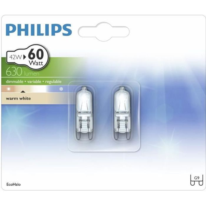philips lot de 2 ampoules ecohalo 42w g9 230v achat vente ampoule led verre cdiscount. Black Bedroom Furniture Sets. Home Design Ideas
