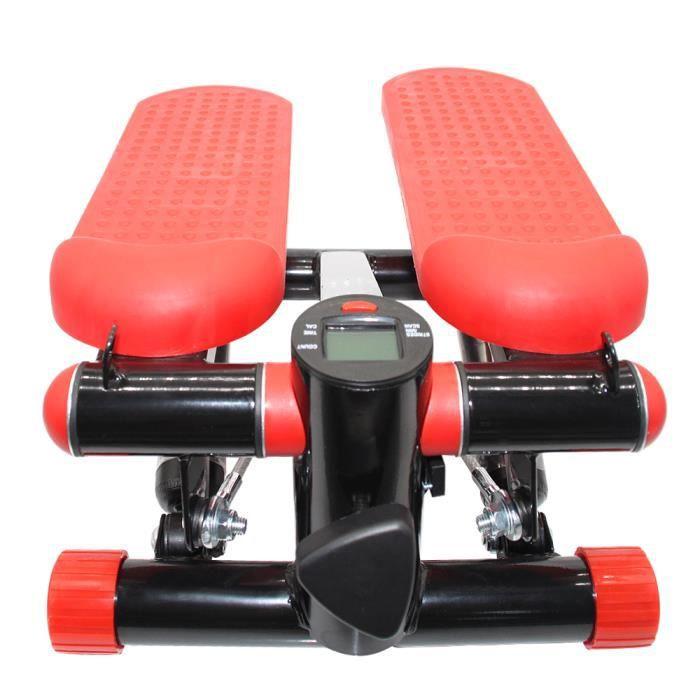 YYiS Stepper, Noir et rouge Stepper avec extenseurs Fitness Entraînement Musculaire Exercise avec Bandes de Résistance
