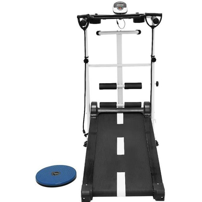 Tapis de Course Pliable Manuel Tapis de Marche avec écran LED, Courir, Sit-ups, pour la Maison ou Le Bureau Charge maximale 150kg