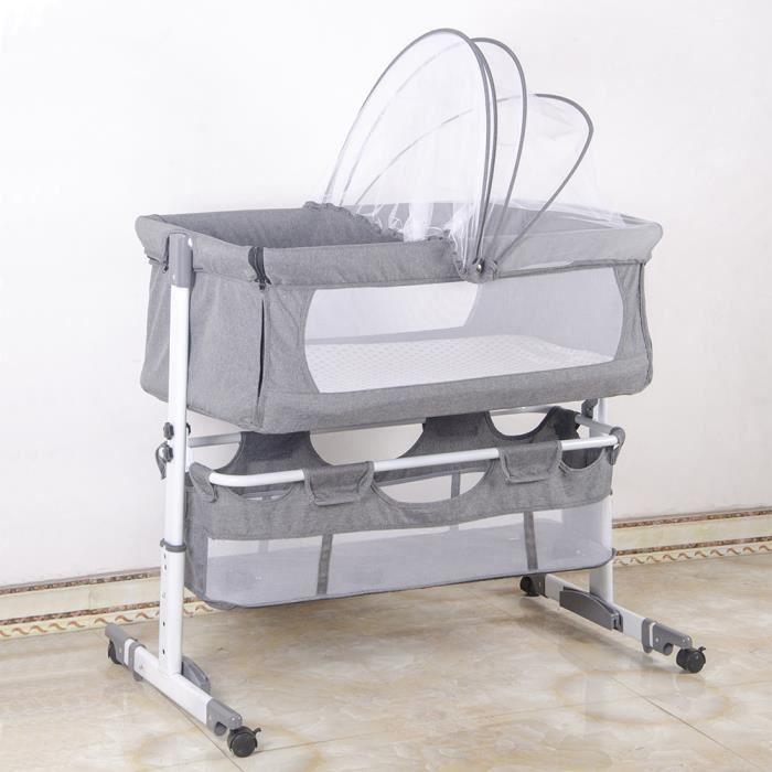 KELUODAE° BERCEAU CODODO - LIT CODODO Lit de Berceau Multifonctionnel Relevable pour Bébé (Avec Moustiquaire)