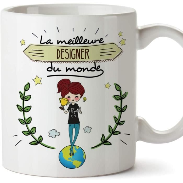 Designer Tasses Originales de café et Petit-déjeuner - La Meilleure Designer du Monde - Céramique 350 ML 1