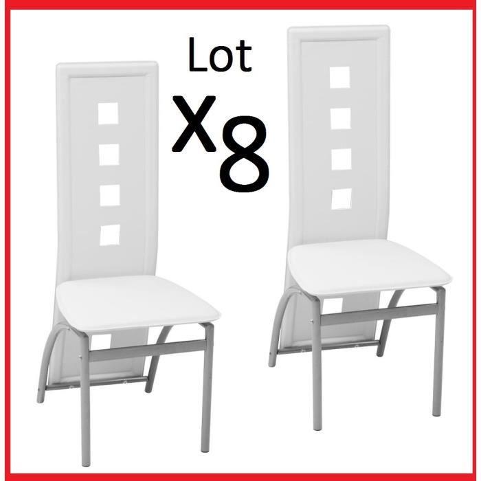 Lot de 8 Chaises en Acier Laqué et Similicuir Blanc de table à manger Salon reception dosseret rectangulaire carré