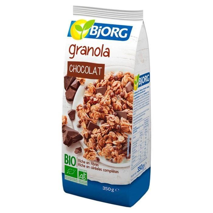 LOT DE 4 - BJORG : Céréales granola au chocolat bio 350 g