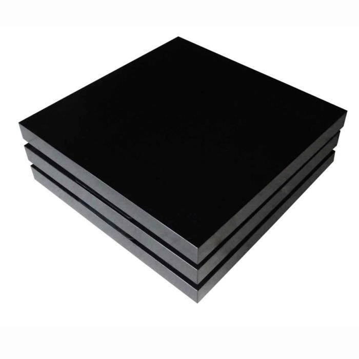 Table basse noir pivotante à 3 plateaux