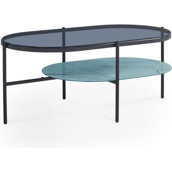 INAE - Table basse ovale en verre et métal noir design