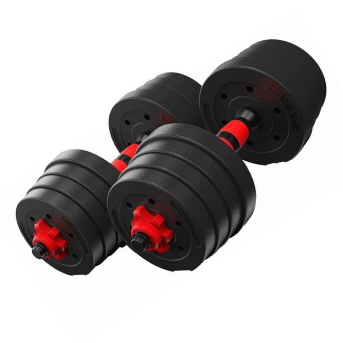 BESPORTBLE Lot de 2 Haltères - chaque 10 kg de 1 Paire d'haltères Dumbbell Musculation Fitness Homme et Femme en Fer et PVC Noir